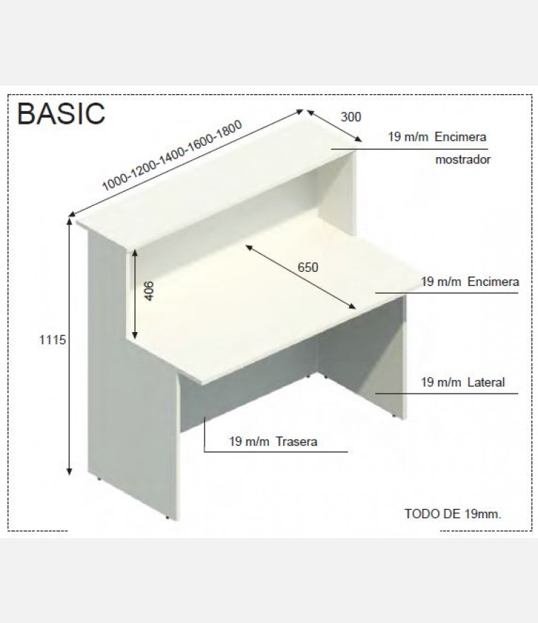 Mostrador basic varios modulos recto compacto for Mueble recepcion medidas